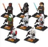 Lot Figurines Star Wars, Jedi, Dark Vador, la Guerre des Etoiles, 8 pièces compatible LEGO