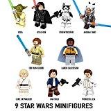 Minifigures STAR WARS - Lot de 9 pièces - Mini Figurines de Luke Skywalker, Han Solo, Princess Leia, Yoda, Obi Wan Kenobi, Lando Calrissian, Kylo Ren, Stormtrooper et Ahsoka Tano - Compatible avec LEGO